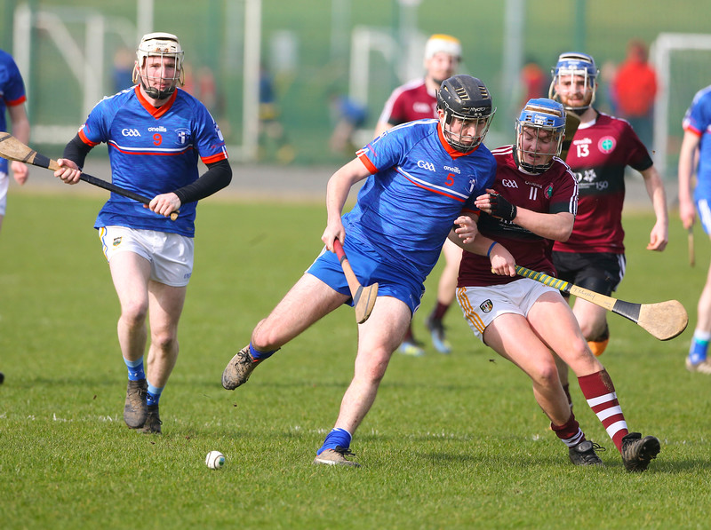 22/02/2019. Fitzgibbon Cup at WIT. Electric Ireland Fergal Maher Cup Semi Final MIC Thurles V St Marys. Pictured are MIC Thurles Brian Sexton and St Marys Tiarnan Murphy. Picture: Patrick Browne