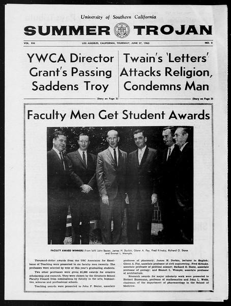 Summer Trojan, Vol. 13, No. 2, June 27, 1963