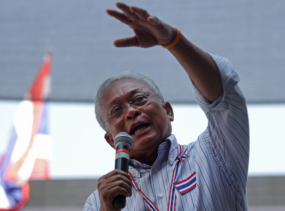 . Thai protest leader Suthep Thaugsuban gestures as he speaks to supporters during rally in Bangkok on February 2, 2014. (AFP/Getty Images)
