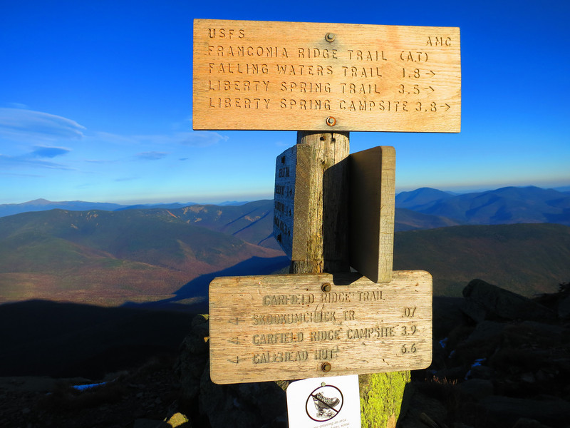 Summitted at 4:45 - on top for about 20  min. .. To the NE that's Mt Washington distantly on the left edge, about 10.5 air-miles away.