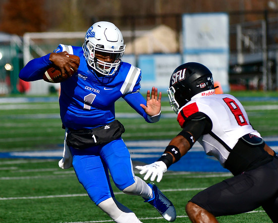 11/9/2019 Mike Orazzi | StaffrCCSU's Aaron Winchester (1) Saturday against Saint Francis in New Britain.