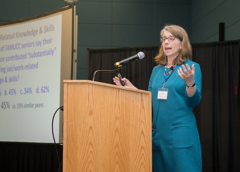 Dr. Jillian Kinzie, from the National Survey of Student Engagement Institute and Indiana University School of Education National Institute for Learning Outcomes Assessment Senior Scholar, spoke to attendees during the College Impact Workshop.