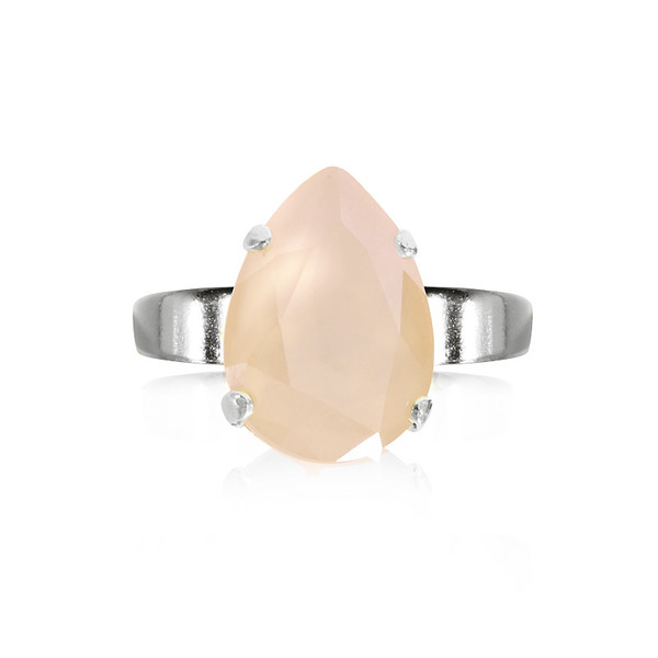 Mini Drop Ring / Ivory Cream Rhodium