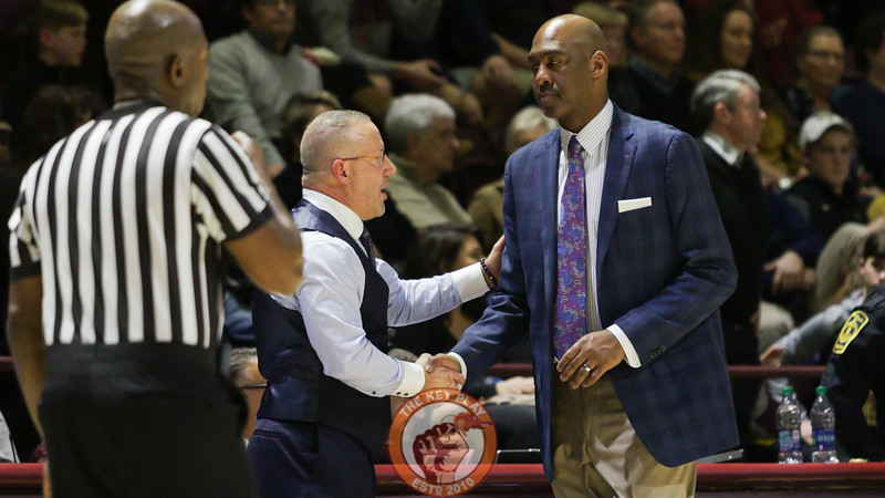Virginia Tech head coach Buzz Williams and Wake Forest head coach Danny Manning shake hands after the final whistle. The Hokies defeated Wake Forest 87-71. (Mark Umansky/TheKeyPlay.com)