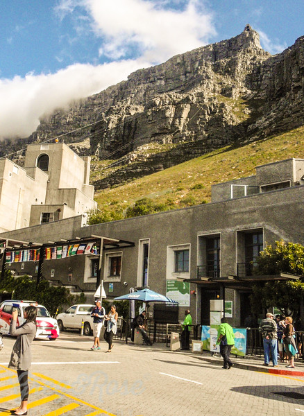 A view of Table mountain sitting above the cable car station