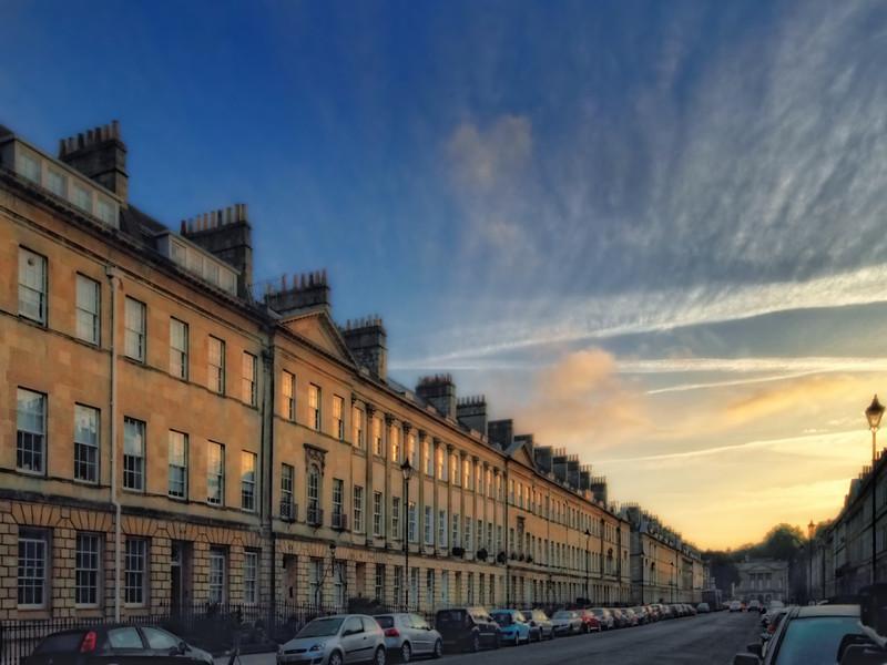 Great Pulteney Street at dawn - in Bath