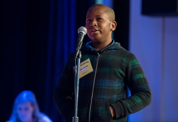 04/25/18 Wesley Bunnell | Staff The Consolidated School District of New Britain held its District Middle School Spelling Bee Championship at Slade Middle School on Wednesday evening. Mekhi Stewart from Diloreto won the 7th grade competition.