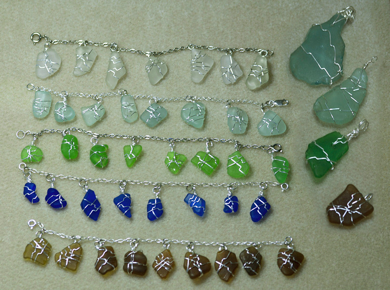 Beach Glass bracelets and pendants - example  Not for Sale