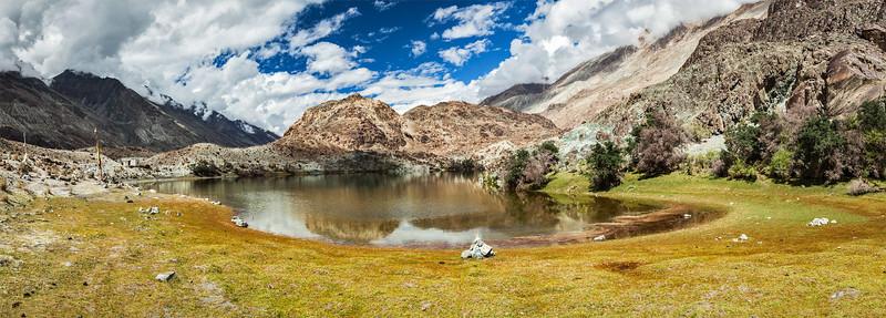 Lohan Tso - Buddhist sacred holy lake in Himalayas.  Nubra Valley, Ladakh, India