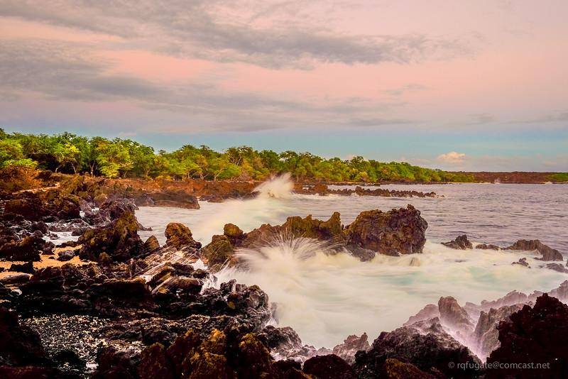 Maui shoreline at sunset