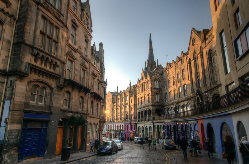 Bars and shops in a street in Edinburgh, Scotland