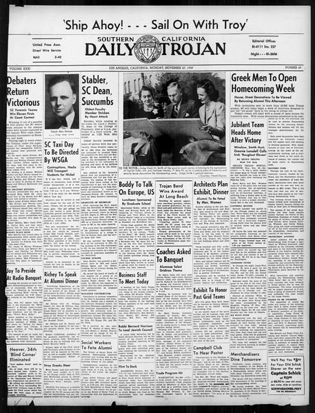 Daily Trojan, Vol. 31, No. 49, November 27, 1939