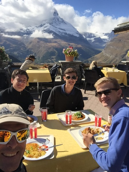 Mr. Silitch and his advisory having lunch in the mountains around Zermatt