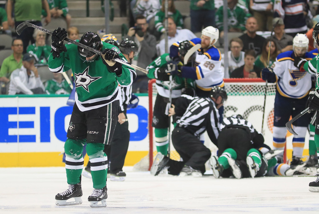 . DALLAS, TX - MAY 11:  Jason Demers #4 of the Dallas Stars skates off the ice against the St. Louis Blues in Game Seven of the Western Conference Second Round during the 2016 NHL Stanley Cup Playoffs at American Airlines Center on May 11, 2016 in Dallas, Texas.  (Photo by Ronald Martinez/Getty Images)