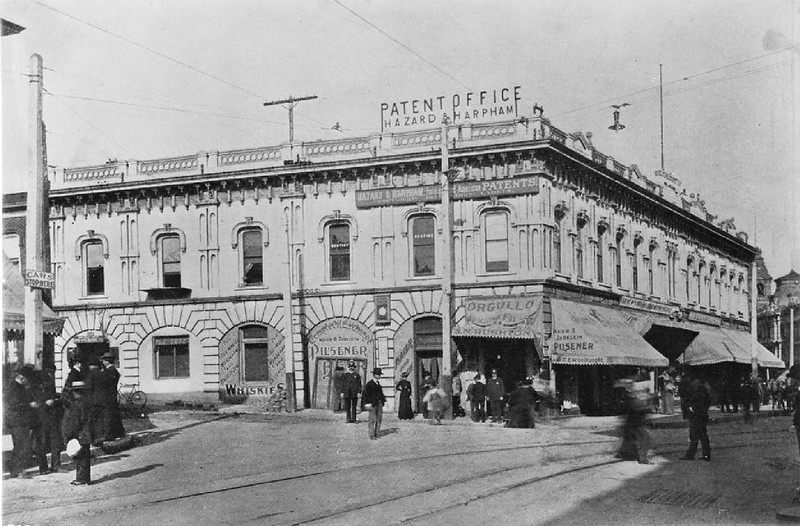 Exterior view of Downey Block on the corner of Spring Street and Temple Street, ca.1905