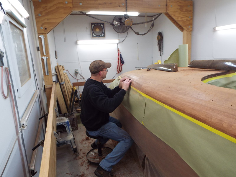 Shaping the starboard cover boards.