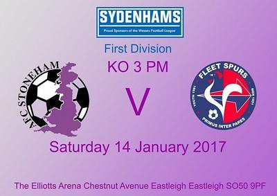 AFC Stoneham (6) v Fleet Spurs (1) 14.1.2017