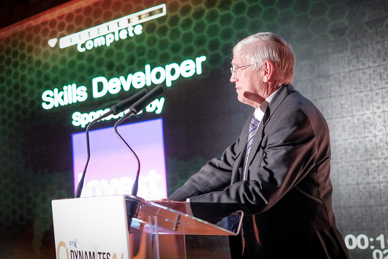 Cllr John Anglin presents the award for Skills Developer of the Year (Organisation) to Accenture