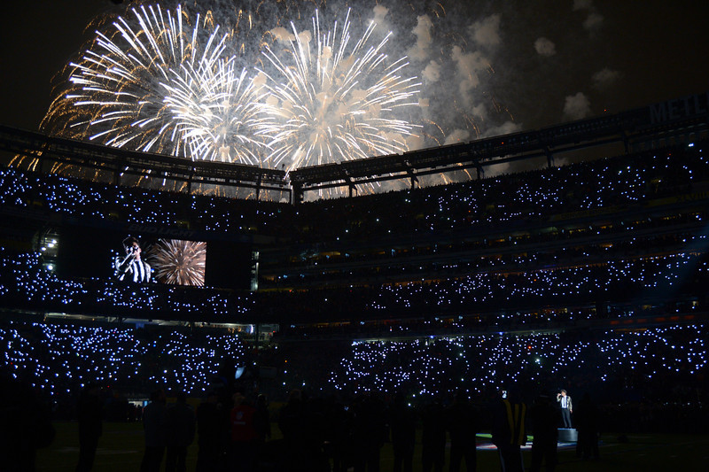 . Bruno Mars performs during the halftime show at Super Bowl XLVIII at MetLife Stadium in East Rutherford, New Jersey Sunday, February 2, 2014. (Photo by John Leyba/The Denver Post)