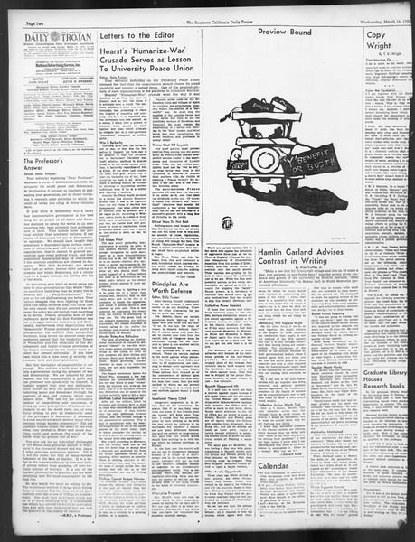 Daily Trojan, Vol. 29, No. 99, March 16, 1938