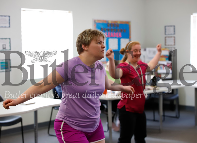 LifeSteps students Abbey and Ashley work on their dance excersizes. Seb Foltz/Butler Eagle 12/19/19