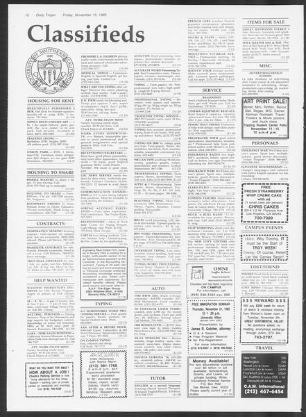 Daily Trojan, Vol. 100, No. 51, November 15, 1985