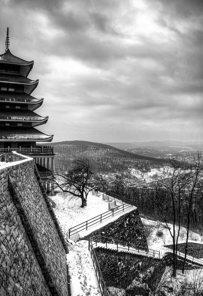 pagoda - snow pagoada city and stairs(p, bnw).jpg