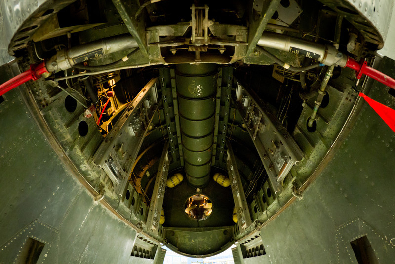 Bombový prostor bombardéru B-29. Tento typ byl použit pro ukončení války v Hirošimě a Nagasaki.
