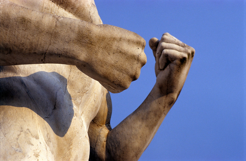 Fists of Athlete Statue at Foro Italico in Rome, Italy