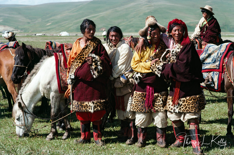 Khampa horsemen, dressed in bengal tiger fur lined coats known as chubbas wait their turn to compete in the Paiyul summer horse racing festival in Eastern Tibet.    Paiyul, Kham, Tibet. 1991