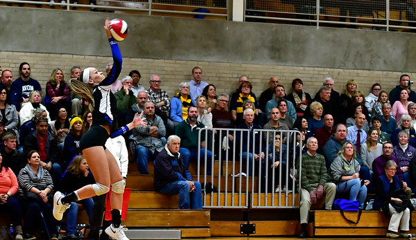 11/14/2018 Mike Orazzi   Staff Bristol Eastern's Amber Blais (19) during the Class L Semifinal State Girls Volleyball Tournament held at Windsor High School Wednesday night.