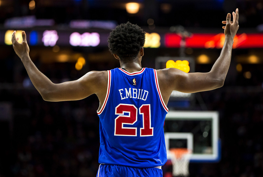 . Philadelphia 76ers\' Joel Embiid reacts to the call during the second half of an NBA basketball game against the Cleveland Cavaliers, Saturday, Nov. 5, 2016, in Philadelphia. The Cavaliers won 102-101. (AP Photo/Chris Szagola)