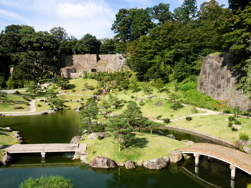 GGyokusen-in garden on the grounds of historic Kanazawa castle. Editorial credit: Amehime / Shutterstock.com