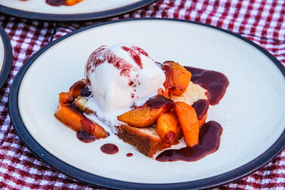 Summeripe Roasted Peaches & Pound Cake