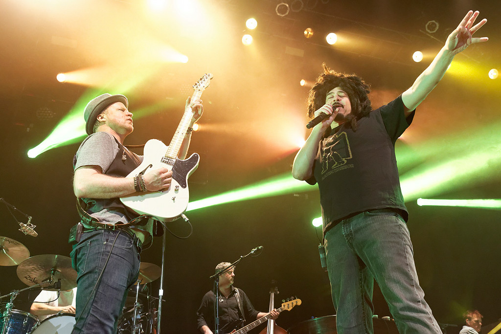 . Guitarist Dan Vickrey and singer Adam Duritz of Counting Crows perform at Sound Board in the MotorCity Casino on Friday, July 18, 2014. Photo by Ken Settle