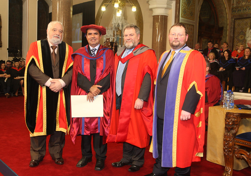 Pictured is Paulo Marcio Da Silva Melo who was conferred a Doctor of Philosophy also pictured is Jack Walsh, Deputy Chairperson Govering body, Dr Bill O'Gorman Supervisor and Dr. Derek O'Byrne, Registrar of Waterford Institute of Technology (WIT). Picture: Patrick Browne.