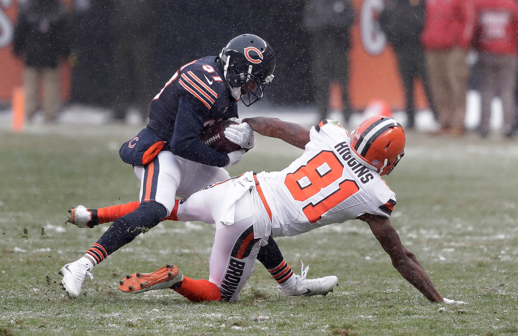 . Chicago Bears cornerback Bryce Callahan (37) intercepts a pass intended for Cleveland Browns wide receiver Rashard Higgins (81) in the second half of an NFL football game in Chicago, Sunday, Dec. 24, 2017. (AP Photo/Charles Rex Arbogast)