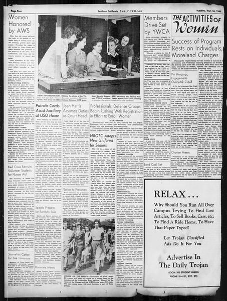 Daily Trojan, Vol. 34, No. 3, September 22, 1942