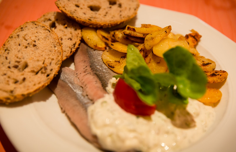 Pickled herring with pan fried potatoes