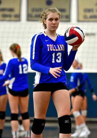 11/10/2018 Mike Orazzi   Staff Tolland High School's Audrey Luginbuhl (13) during the Class L Quarterfinal Girls Volleyball Tournament in Bristol Saturday.