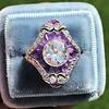 2.27ct (est) Art Deco Old European Cut Diamond with Amethyst Halo Ring 8