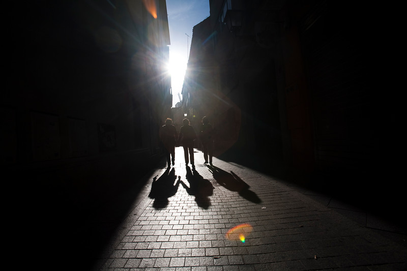Backlit street, downtown, Seville, autonomous community of Andalusia, southern Spain