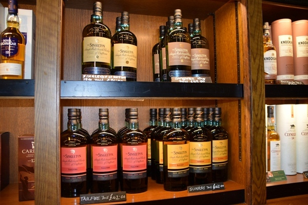 bottles of whiskey on a shelf