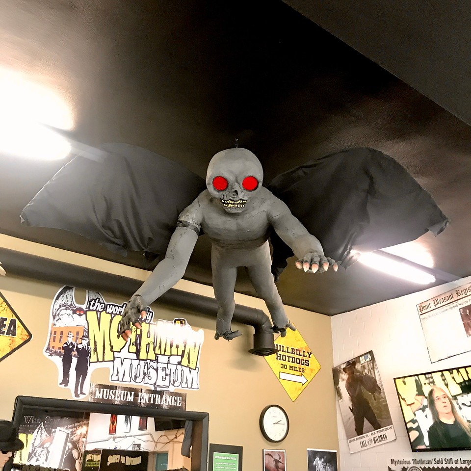Hanging Mothman at the Mothman Museum Point Pleasant West Virginia