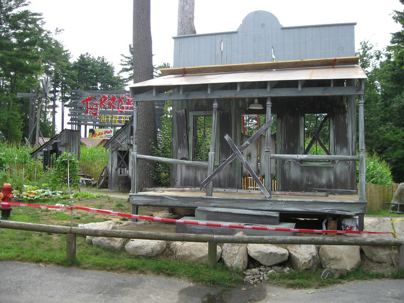 A new stage being constructed next to the Terror in the Corn haunt area.