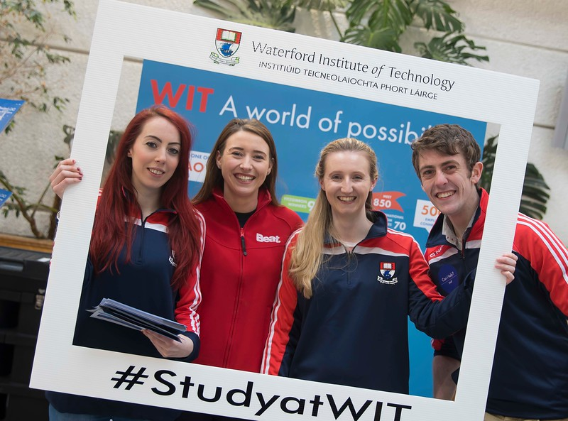 05/04/2016. Waterford Institute of Technology (WIT) CAO Information Evening are Lorna Flynn WIT Student Ambassador, Caroline Kent, Beat FM, Katie Duggan and Shane Phillips WIT Student Ambassadors. Picture: Patrick Browne  Prospective students travelled from far and wide to the Waterford Institute of Technology (WIT) CAO Information Evening on Tuesday 5 April to hear in detail about the brand new WIT President's Scholarship Programme worth up to €12,000 a year for five students. For September 2016, WIT is offering an exciting new scholarship scheme which encourages and rewards young people who show a capacity to shape a better society. WIT has 70 CAO courses. Details are available at www.wit.ie/caoscholarship