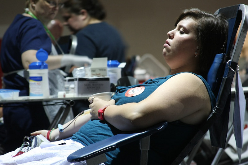 Student Sara Phillips saves up to three lives by donating blood to the American Red Cross.
