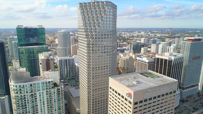 Aerial drone video Southeast Financial Center buidling Downtown Miami
