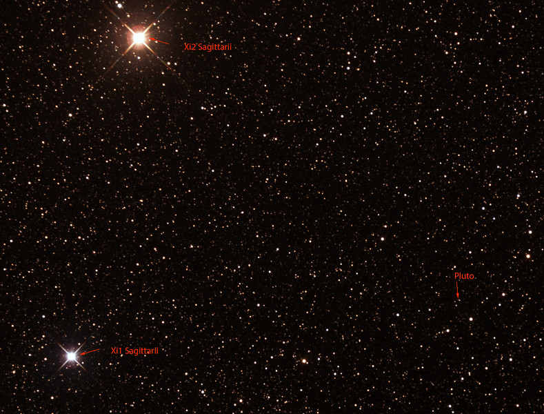 Pluto in Sagittarius (annotated) - 10/7/2015 (Processed cropped stack)