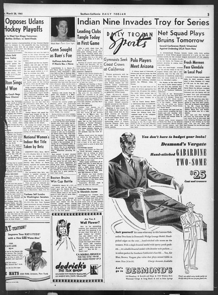 Daily Trojan, Vol. 32, No. 111, March 28, 1941